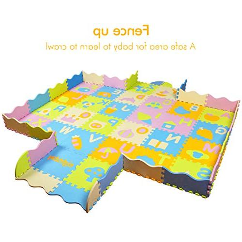 AIMERDAY Mat with Fence, 7.7'x4.8' Extra Kids Floor Patterns Mat for Playroom Infants