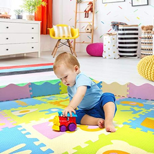 AIMERDAY Baby Play Mat with Extra Large Non-Toxic Kids Foam Floor Tiles with Patterns for Playroom Infants