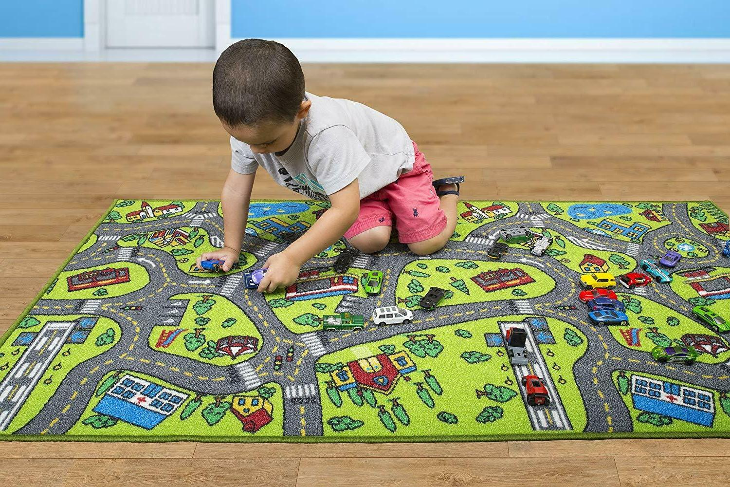 Race Car Play Mat For Kids Toddlers Track