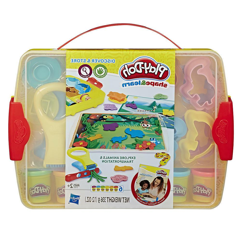 shape learn discover play doh storage case