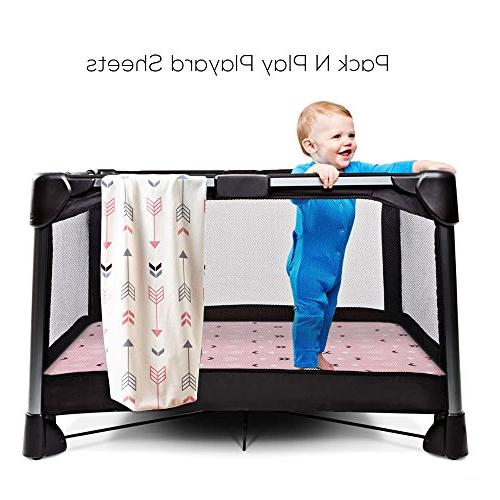 Stretchy Pack 2 Crib Playard Cover,Ultra Soft Material,Pink White