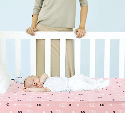 Stretchy Fitted Pack Play 2 Portable Crib Cover,Ultra Material,Pink White Arrow Design