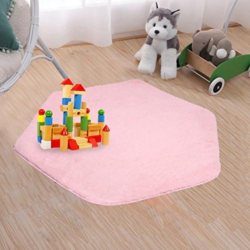 Beebeerun Kids Pink Carpet Rug Hexagon Coral Play for