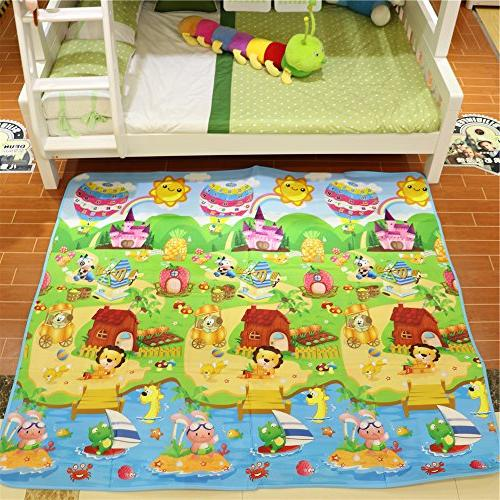 Fani Play Mat Thick&Large Double Reversible Portable Mat Use Outdoor/Picnic/Beach/Travel