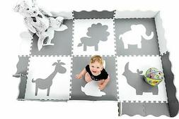Wee Giggles Large Foam Baby Play Mat with Fence | 60 x 84 in