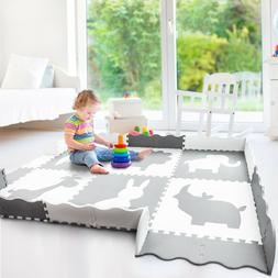 Large Foam Baby Play Mat with Fence 55.9x55.9x0.4in  | Non-T