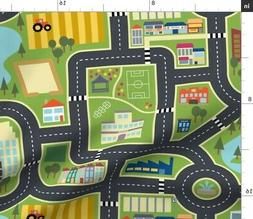 Map Roads City Town Country Play Mat Fabric Printed by Spoon