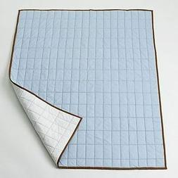 Metro Blue/White/Chocolate Quilted Toddler Throw Play Mat