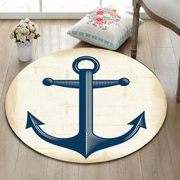 Nautical Anchor Home Decor Round Carpet Room Floor Area Rug