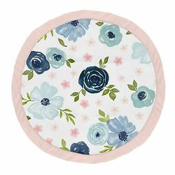 Navy Pink Watercolor Floral Girl Baby Playmat Tummy Time Pla