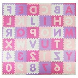 Tadpoles 36-Piece Pink/Purple ABC Soft Durable Foam Puzzle B