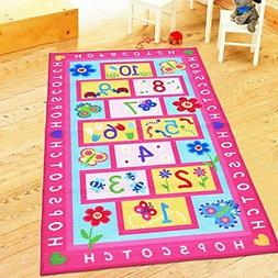 HUAHOO Pink Rug Girls Pink Kids Rug,Children's Rugs Baby Nur
