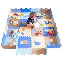 Baby Play Mat with Fence Dinosaur Style with 18 Patterns Thi