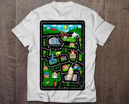 Play Mat Shirt for Dad Road Map T-shirt with Toy Car Shirt S