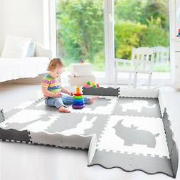 Baby Play Mat with Large Interlocking Foam Floor Tiles. Grey