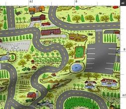 Play Mat Train Tracks Nursery Road Map For Fabric Printed by