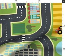 Playmat Play Mat Roads Map Town Country Fabric Printed by Sp