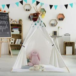 Portable Children Canvas Indian Teepee Play Tent with Floor