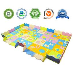 AIMERDAY Baby Puzzle Play Mat with Fence, 7.7'x4.8' Extra La
