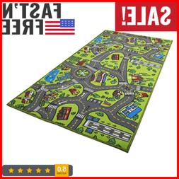 Race Car Track Rug Play Mat For Kids Toddlers Carpet Road To