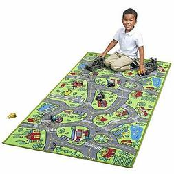 """Race Car Track Rug Play Mat Extra Large 80 """"X 40"""" For Kids C"""