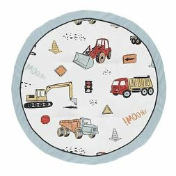 red blue construction truck boy baby playmat