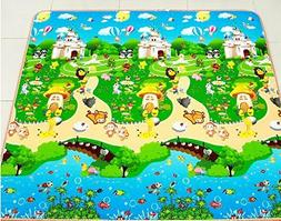 Reversible Kids Activity Mat Baby Care Play Mat 79*70 inch C