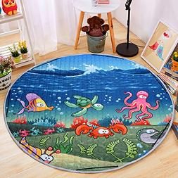Round Kids Baby Play Mat Foldable Toy Storage Bag Anti-Slip