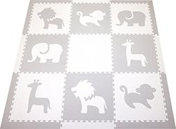 SoftTiles Foam Play Mat Safari Animals Premium Interlocking