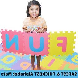 SAFEST Non Toxic Alphabet Puzzle Mat | THICKEST ABC + Number