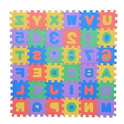 Zerodis 36Pcs Infant Soft EVA Foam Play Puzzle Mat Numbers &