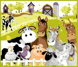 "Susybee~Barnyard Buddies Play Mat 35"" x 44"" Children's Cotto"