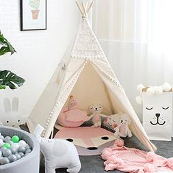 Lebze Teepee Tent for Kids, Lace Teepee for Girls Canvas Chi