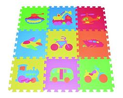 POCO DIVO Transportation Puzzles Play Mat 9-tile EVA Foam Ra