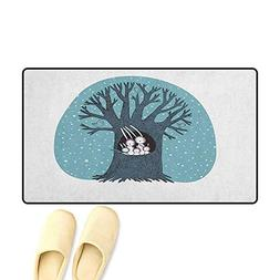 zojihouse Tree Bath Mats for Floors Leafless Winter Tree wit