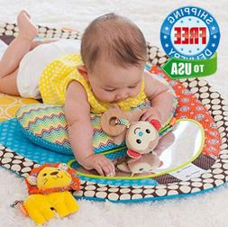 Tummy Time Activity Mat Baby Play with Mirror Plush Pillow &