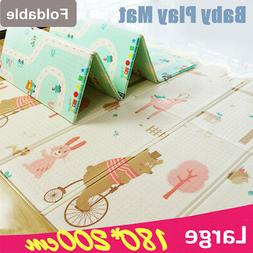 Two-sided Foldable Baby Kids Play Mat Floor Alphabet Animal
