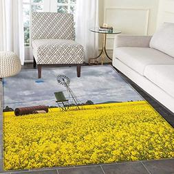 Windmill Non Slip Rugs Canola Meadow Stormy Day Victorian Go